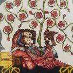 L'immagine medievale riproposta su pietra lavica rappresenta l'immenso amore tra Federico II e Bianca Lancia.