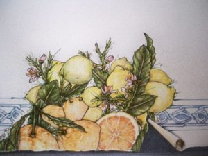 particolare tavolo limoni 300x225 - particolare tavolo limoni