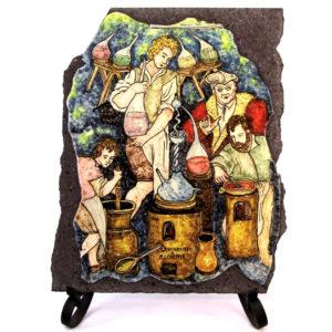 Laboratorio alchemico dipinto su pietra lavica dell'Etna