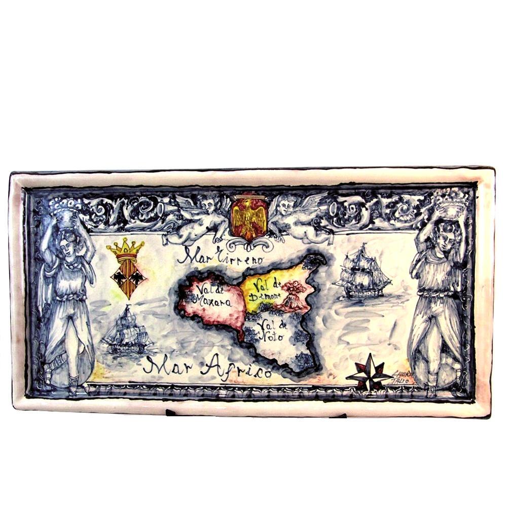 Cartina Sicilia Antica.Mappa Geografica 29 X 56 Cm Cod Geo4 Blu Arte