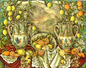 "Limoni in ""Sicilia generosa"" di Laura Talio - olio su tela"