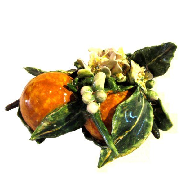 due arance e zagare siciliane di ceramica