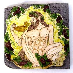 Sileno di Giardini Naxos con uva su pietra lavica