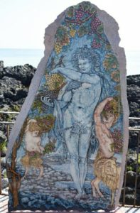 Silenus of Naxos in lava stone created by Laura Talio for the tv broadcast Rai 2 Mezzogiorno in famiglia