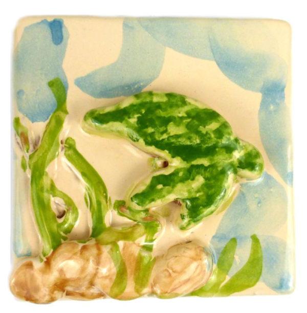 tartaruga 600x612 - Mattonella mare tartaruga in verde10 x 10 cm
