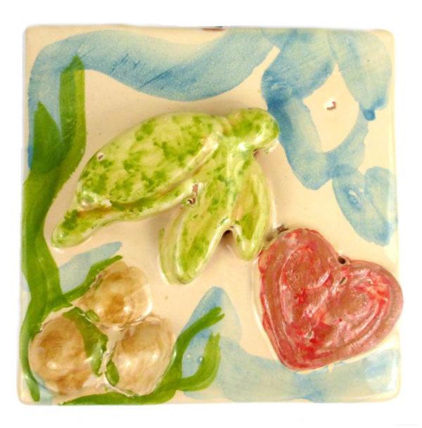 tartaruga.cuore  600x609 - Mattonella mare tartaruga in verde10 x 10 cm